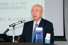 スズケンとの協業について説明する東邦HDの濱田会長